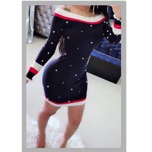 Dresses & Skirts - Striped casual pearl knit mini dress